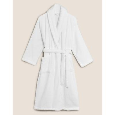 Womens M&S Collection Robe de chambre 100 % coton éponge - White Mix