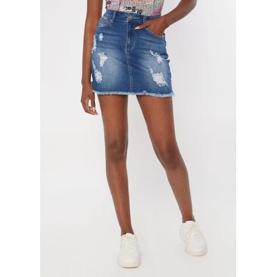 Rue21 Womens Medium Wash Ripped Jean Skirt - Size L