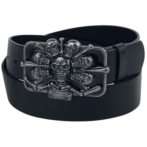Black Premium by EMP Schwarzer Gürtel mit extravaganter Skull-Schnalle Gürtel - schwarz