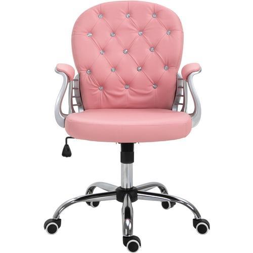 ® Drehstuhl Chefsessel 59,5 x 60,5 x 95-105 cm Rosa Grau - rosa - Vinsetto