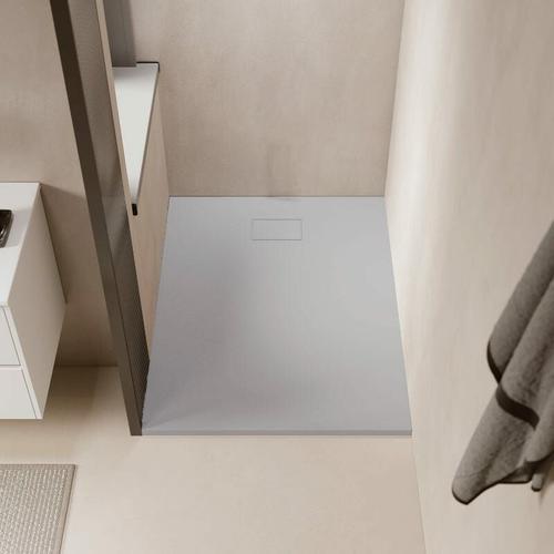 Duschwanne bodengleich PIATTO aus SoliCast® grau 80 cm x 140 cm