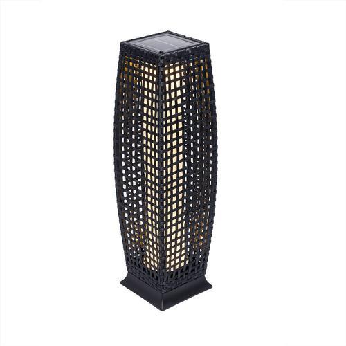 Deuba Poly Rattan LED Solarleuchte Solarlampe schwarz 70cm