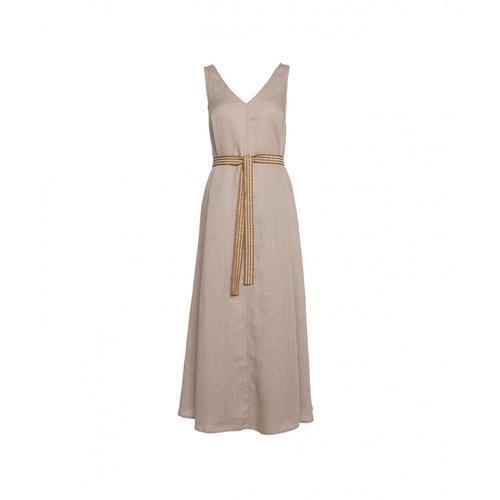 Ottod ame Damen Maxi Kleid aus Leinen Beige
