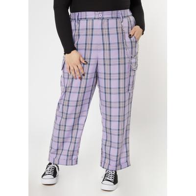 Rue21 Womens Plus Size Purple Plaid Print Wide Leg Pants - Size 3X