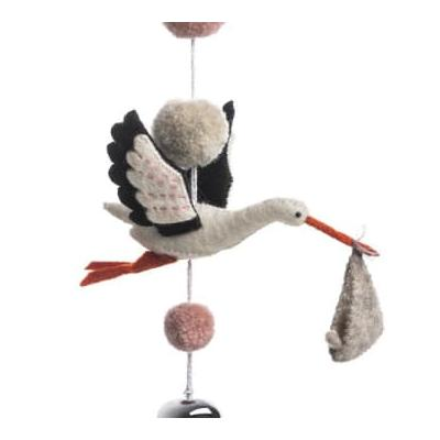Sew Heart Felt - Stork Pom Pom Nursery Garland Organic Felt