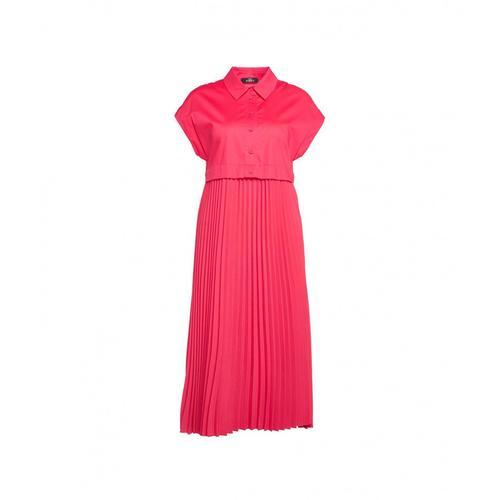 My Twin Damen Kleid mit Plissee-Falten Pink