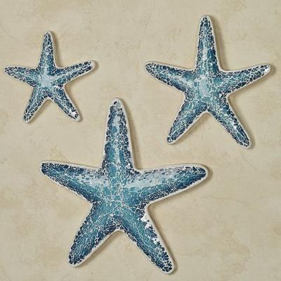 Mosaic Starfish Wall Art Blue Set of Three, Set of Three, Blue