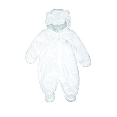 Carter's One Piece Snowsuit: White Solid Sporting & Activewear - Size 6-9 Month