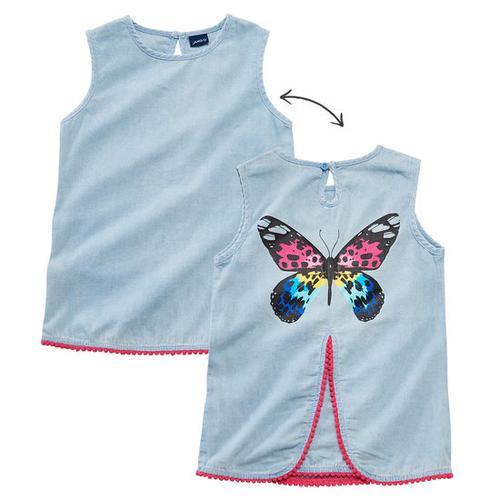 Jeansbluse Schmetterling, blau, Gr. 128/134