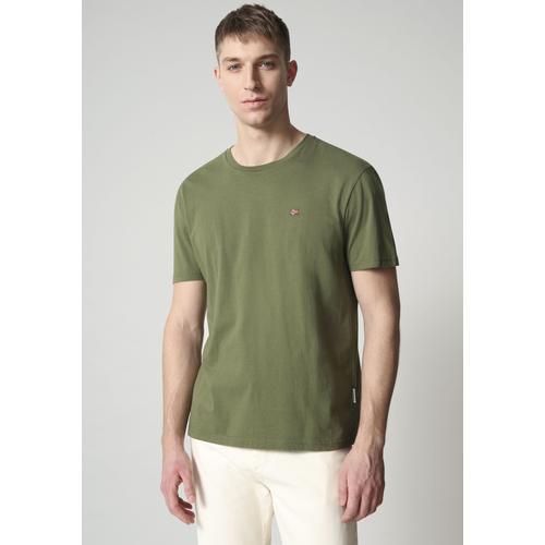 Napapijri T-Shirt SALIS, mit kleiner Flaggenstickerei grün Herren Shirts