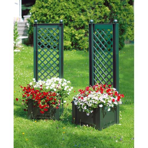 KHW Spalier, mit Pflanzkasten, BxTxH: 43x43x140 cm grün Spaliere Gartendekoration Gartenmöbel Gartendeko Spalier