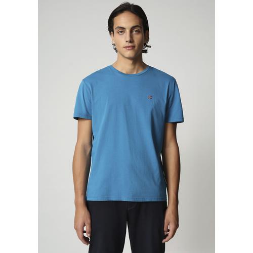 Napapijri T-Shirt SALIS, mit kleiner Flaggenstickerei blau Herren Shirts