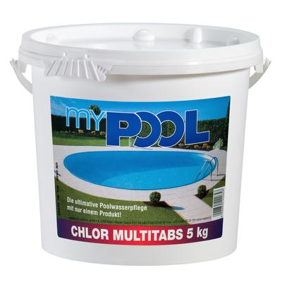 MyPool Chlortabletten Chlor Multitabs, 5 kg weiß Poolzubehör -reinigung Pools Planschbecken Garten Balkon