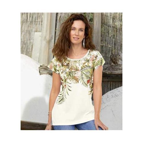 T-Shirt mit tropischem Druckmotiv