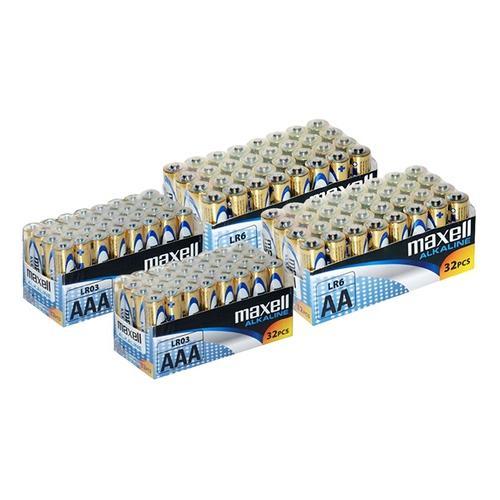 Maxell Alkaline-Batterien: 64 AA-Batterien + 64 AAA-Batterien