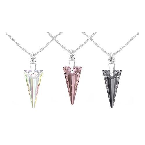 2x Halskette mit Swarovski®-Kristall: 18 mm/ AB & Blue Shade
