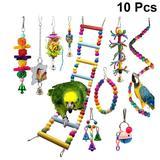10 pièces perroquet jouet bois c...