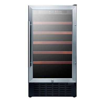 """Summit SWC1840BCSS 17 3/4"""" One Section Wine Cooler w/ (1) Zone - 34 Bottle Capacity, 115v"""