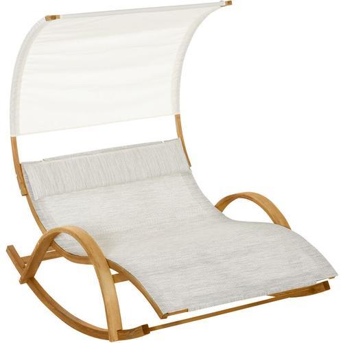 ® Doppel Sonnenliege Schaukelliege Relaxliege mit Dach Lärche - Outsunny
