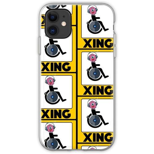 Lustige Rollstuhl-Strichmännchen DJ-Kreuz-Zeichen Flexible Hülle für iPhone 11