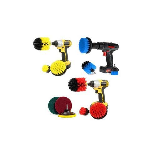 Bürstenaufsätze für die Bohrmaschine zur Reinigung: 3er-Set / Rot