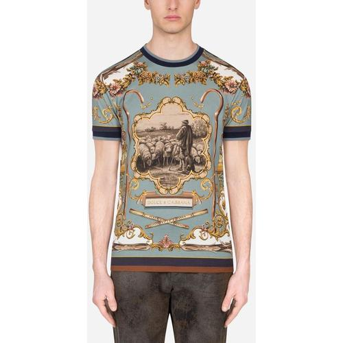 Dolce & Gabbana Cotton T-Shirt With Shepherd Print