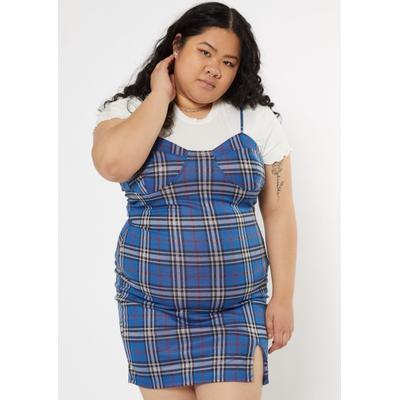 Rue21 Womens Plus Size Blue Plaid Print Padded Bust Sleeveless Dress - Size 2X