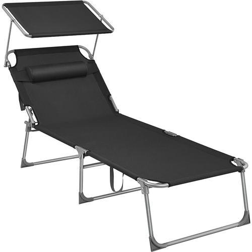 Sonnenliege, Liegestuhl, Gartenliege, extra groß, 71 x 200 x 38 cm, bis 150 kg belastbar, mit