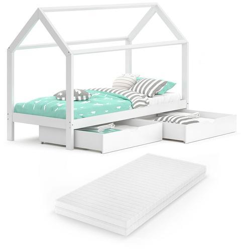 VITALISPA Kinderbett WIKI 90x200 Weiß Hausbett Schubladen Massivholz Holzbett