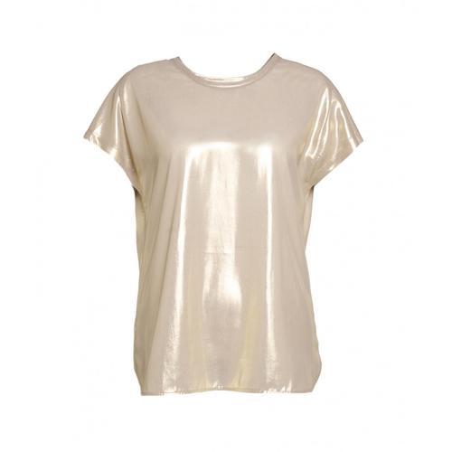 Pinko Damen T-Shirt mit Glitzer-Finish Gold
