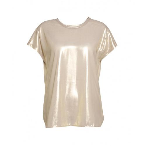 Pinko Damen T-Shirt mit Glitzer-Finish Gold