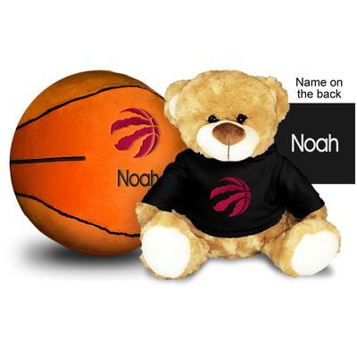 """Black Toronto Raptors 10'' Personalized Plush Bear & Basketball Set"""