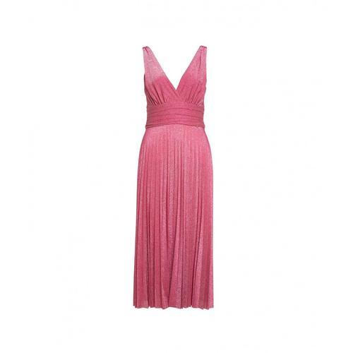Liu Jo Damen Plissee-Kleid im Glitzerfinish Rosa