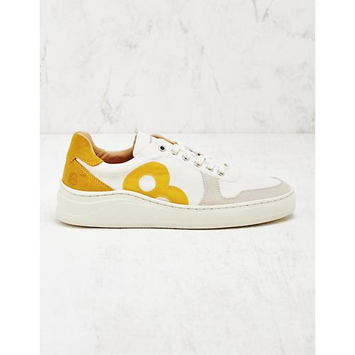8 beaufort.Hamburg Damen Leder-Sneaker Elde weiß-gelb