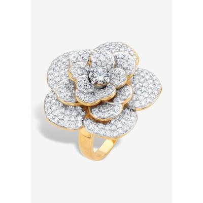 Plus Size Women's Yellow Gold-Plated Round Rose Ring by PalmBeach Jewelry in Gold (Size 8)