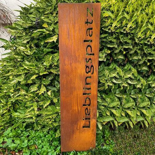 Gartenschild Lieblingsplatz, Edelrost