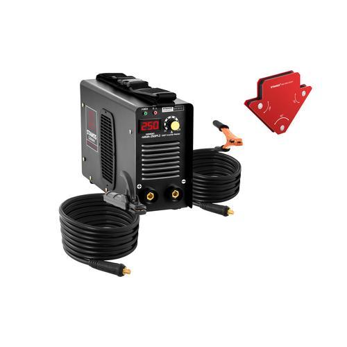 Stamos Pro Series Set Elektroden Schweißgerät plus 2 Schweißwinkel - 250 A - 8 m Kabel - Hot Start S-MMA-250PI.2-SET-1