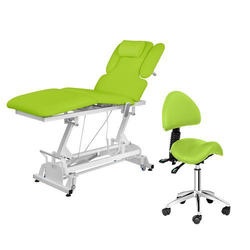 physa Massageliege elektrisch NANTES und Sattelstuhl - 3 Motoren - Fußpedal - hellgrün PHYSA NANTES LIGHT GREEN SET