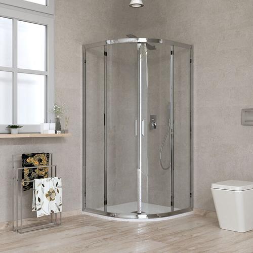 Halbrunde Duschkabine 80 x 80 transparentes Glas Ponsi Gold BBGOLTSE80 | 80x80 cm (78-80 x 78-80)