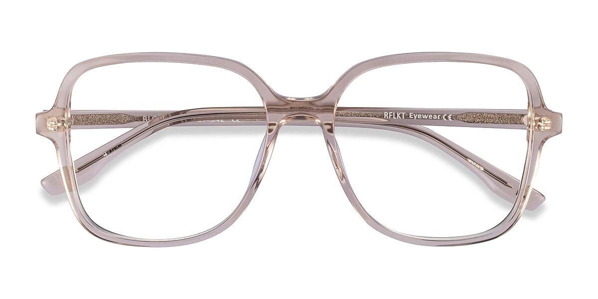 Unisex Square Champagne Acetate Prescription eyeglasses - EyeBuydirect's Bloom