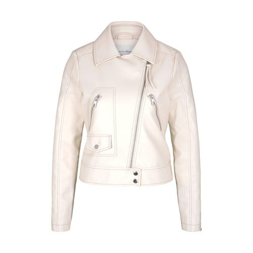 TOM TAILOR DENIM Damen Biker Lederjacke, beige, Gr.XS