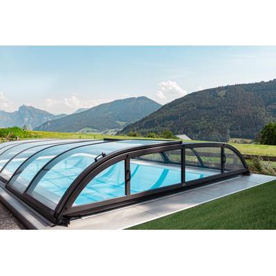 Pool-Komplettset Infinity® ONE Überlauf 3,2 x 7,0m mit Pool-Überdachung Harmony Clear