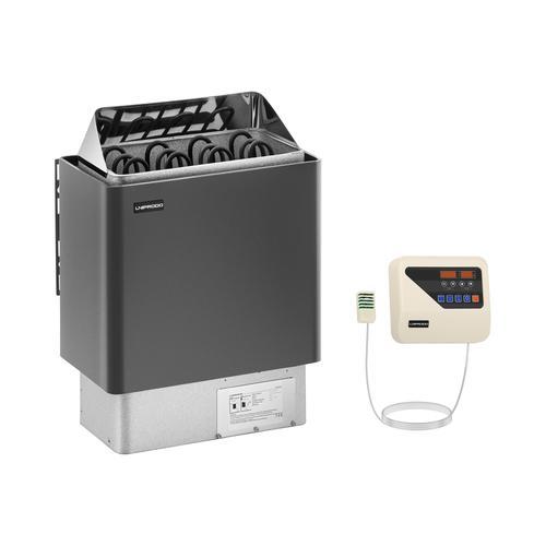 Uniprodo Set Saunaofen mit Saunasteuerung - 6 kW - 30 bis 110 °C - LED-Display UNI_SAUNA_G6.0KW-SET-1