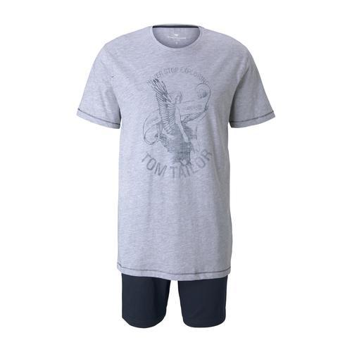 TOM TAILOR Herren Maritimes Pyjama-Set, grau, Gr.50/M