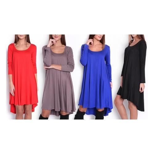 Asymmetrisches Damen-Kleid : Rot/ Gr. L-XL