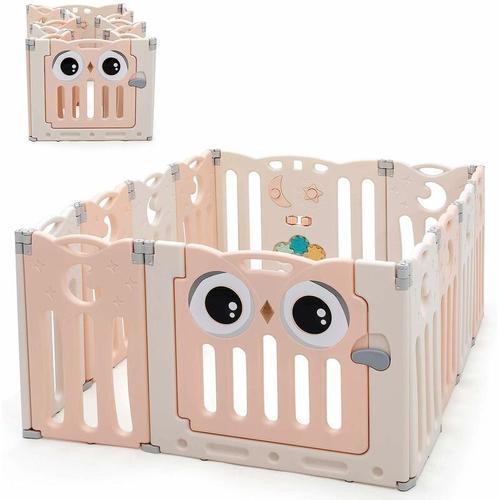 Laufgitter mit Tür und Spielzeugboard, Baby Laufstall faltbar, Absperrgitter aus Kunststoff,