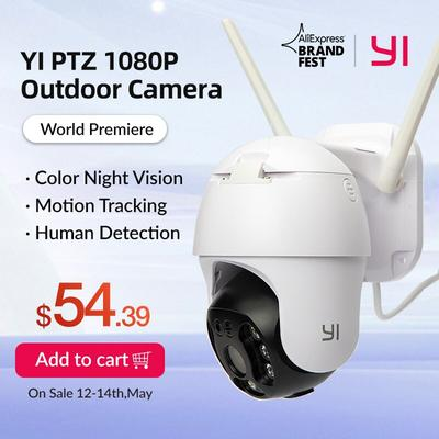 YI – caméra de surveillance extérieure PTZ IP Wifi hd 1080P, dispositif de sécurité sans fil, avec