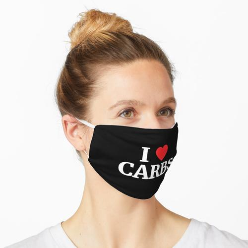 Ich liebe Kohlenhydrate Herz Maske