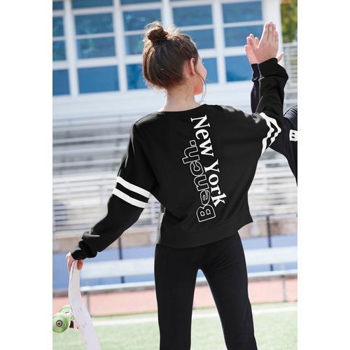 Bench. Fledermausshirt, mit großem Print und Fledermausärmeln schwarz Mädchen Fledermausshirts Shirts Tops Mädchenkleidung Fledermausshirt