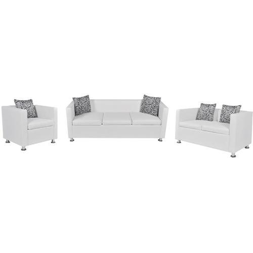 Sofa-Set Kunstleder 3-Sitzer + 2-Sitzer + Sessel Weiß - Youthup